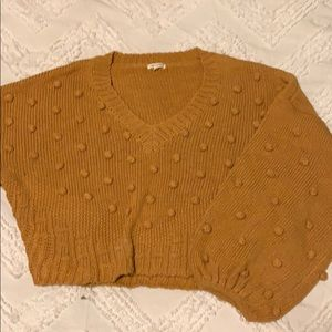 Mustard yellow pompom sweater